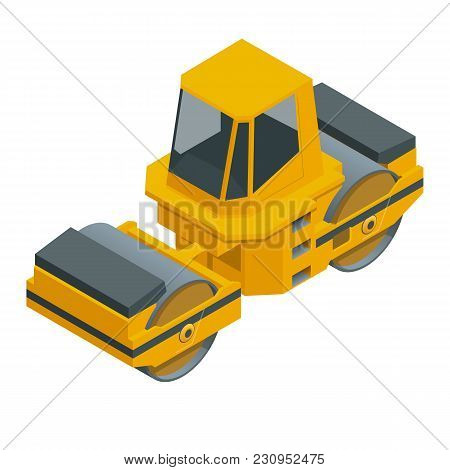 Isometric Asphalt Paver Of Orange Color Rolls Black Asphalt For A Road. Road Rollers Under The White