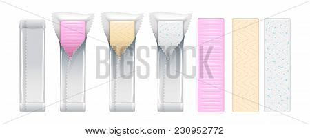 Chewing Gum Sticks In Foil Wrapper Set. Bubble Gum Vector. Mint, Vanillla And Strawberry Flavor.
