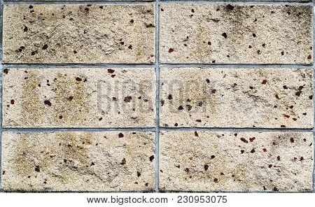 Traditional Japanese Large Bricks Background Photograph, Rough Texture. Large Sand Coloured Bricks,