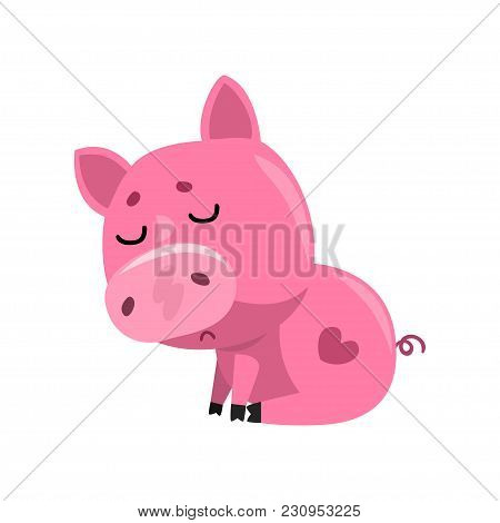 Sad Pink Cartoon Baby Piglet Sitting, Cute Little Piggy Character Vector Illustration Isolated On A