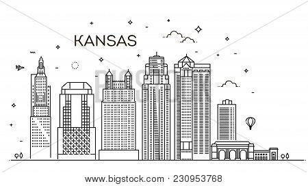 Missouri, Kansas City.city Skylin. Architecture, Buildings, Landscape, Panorama, Landmarks, Icon