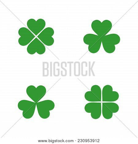 Green Clover Icon Collection In Flat Style. Isolated Clover Icon Collection For Use In Variety Of Pr