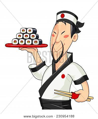 Japanese Cook With Sushi. Traditional Food. Profession. Chief With Meal. Fast Food Service. Isolated