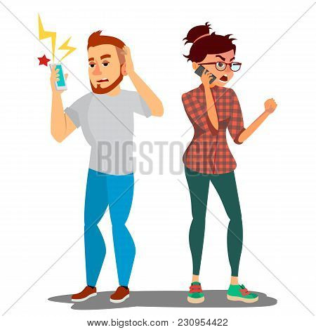 Quarrel Man And Woman Vector. Conflict. Disagreements. Quarreling People Concept. Angry People. Shou