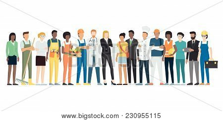Multiethnic Group Of Workers Stading Together, Employment Concept
