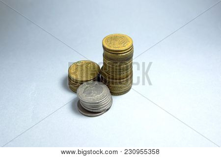 Close Up Picture Of Moroccan Dirham. Coins Of Morocco