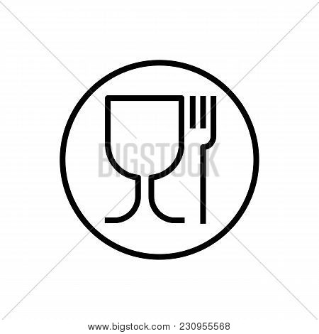 Non-toxic Material Symbol, Glass And Fork. Vector Illustration