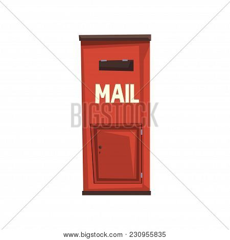 City Hanging Postbox For Sending Letters. Bright Red Metallic Mailbox. Sign For People Communication
