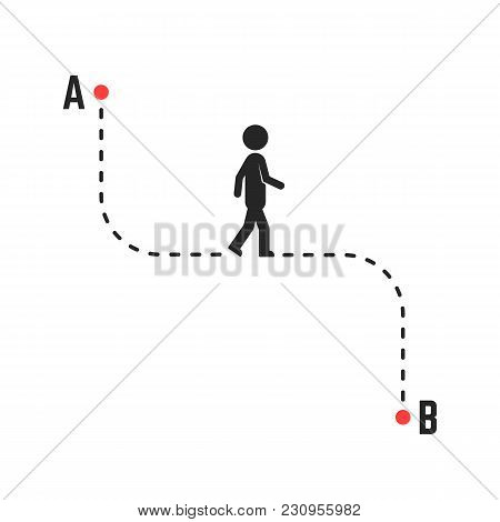 Direction Or Unique Way From A To B. Concept Of Simplify Pathway Or Target Or Position For Tourist.