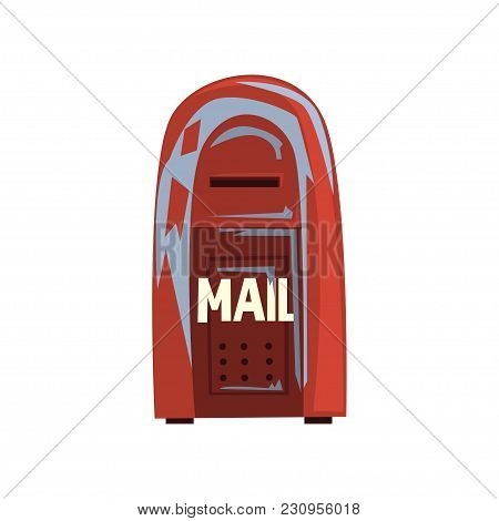 Colorful Cartoon Style Icon Of Old Shabby Mailbox. Red Hanging Metallic Postbox. Sign For People Com