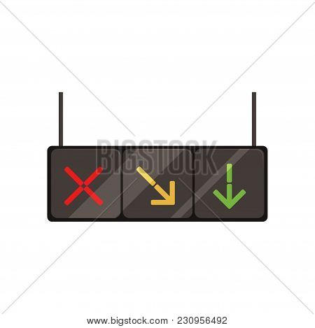 Illustration Of Hanging Lane-control Lights With Red Cross, Yellow And Green Arrows. Signals Control