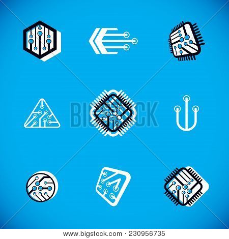 Set Of Microprocessor Scheme Abstract Logotypes. Futuristic Cybernetic Vector Motherboard. Digital E