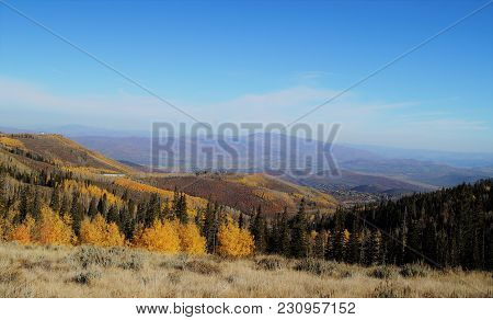 Fall In Deer Valley. Early October At Deer Valley Resort In The Wasatch Mountains Of Utah At The Pea