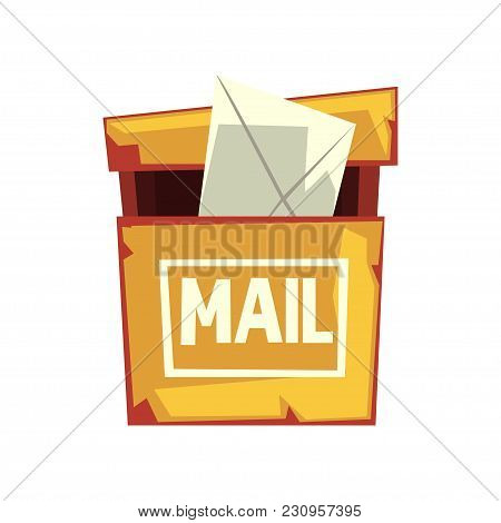 Cartoon Illustration Of Shabby Mailbox With Letter Envelope. Old Yellow Hanging Postbox. Colorful Fl