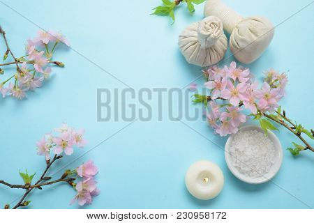 Tropical Spa setting on blue background