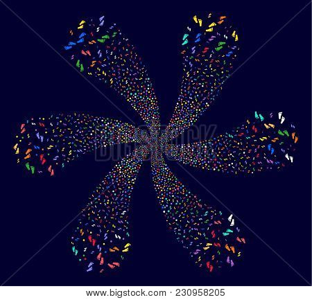 Colorful Human Steps Curl Flower Cluster On A Dark Background. Psychedelic Flower Organized From Sca