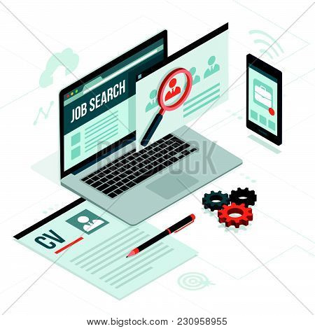 Job Search Platform, Recruitment And Employment On Laptop And Smartphone: Career And Technology Conc