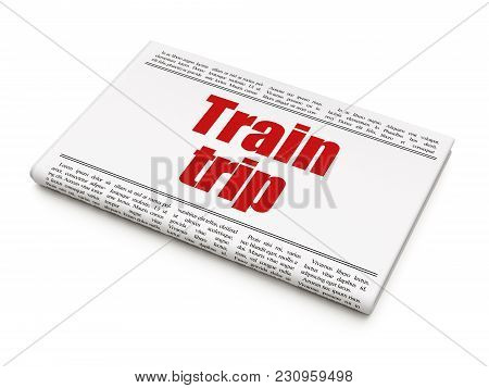 Vacation Concept: Newspaper Headline Train Trip On White Background, 3d Rendering