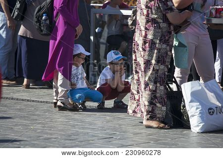 Istanbul Turkey 05 July 2017 People At Eminonu Square In The Old Town, Istanbul, Turkey, Europe