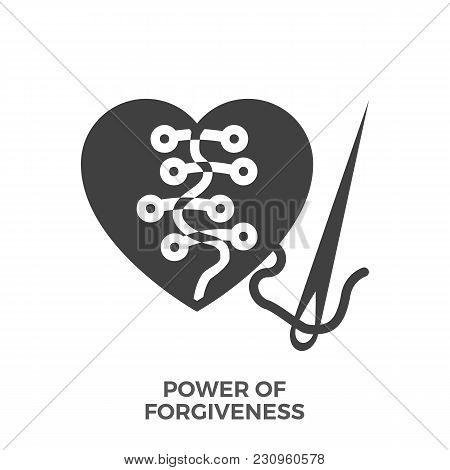 Power Of Forgiveness Glyph Vector Icon Isolated On The White Background.