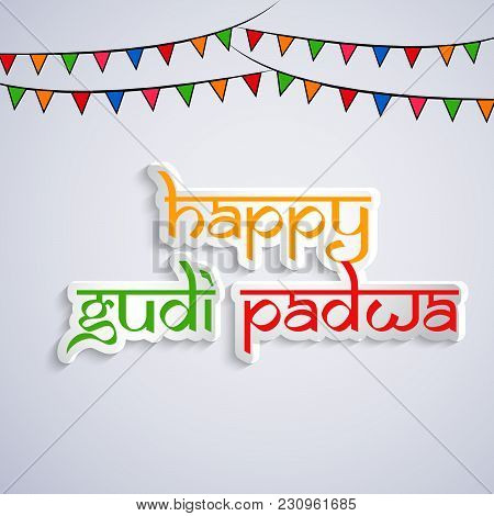 Illustration Of Happy Gudi Padwa Text With Decoration On The Occasion Of Hindu Festival Gudi Padwa