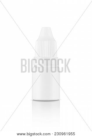 Blank Packaging White Plastic Bottle For Eyes Dropper Medicine Isolated On White Background With Cli