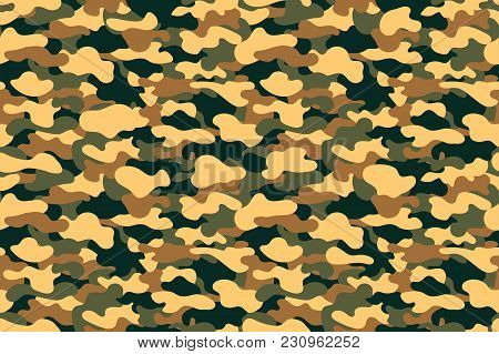 Camouflage Seamless Pattern. Military Clothing Texture Background With Yellow, Green And Brown Folia