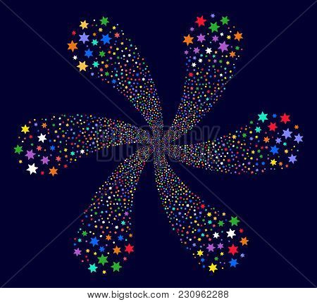 Multi Colored Fireworks Star Exploding Flower With Six Petals On A Dark Background. Impressive Centr