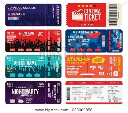 Concert, Cinema, Airline And Football Ticket Templates. Collection Of Tickets Mock Up For Entrance T