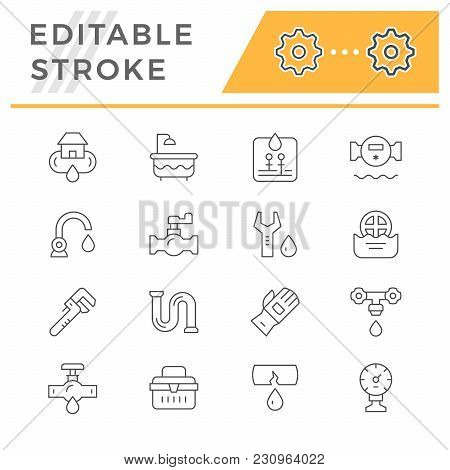 Set Line Icons Of Plumbing Isolated On White. Editable Stroke. Vector Illustration