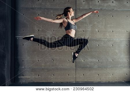 Fit Young Woman Jumping Dancing Fitness Sport