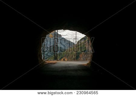 Looking Out Of The Mountain Road Tunnel