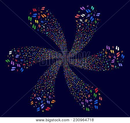 Multicolored Boot Footprints Spiral Composition On A Dark Background. Hypnotic Twirl Combined From S