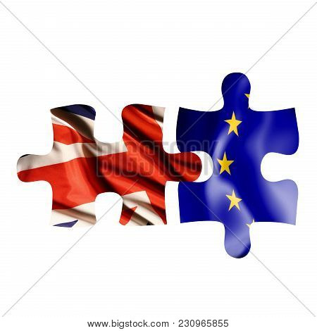Two Puzzle Pieces With Both Uk And Eu Flags, Showing Separation After Uk To Leave European Union