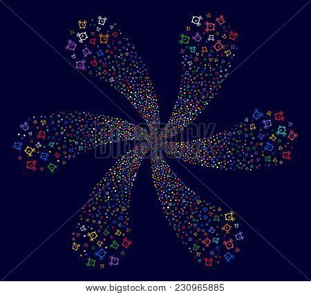 Colorful Buzzer Curl Flower With Six Petals On A Dark Background. Psychedelic Cluster Combined From