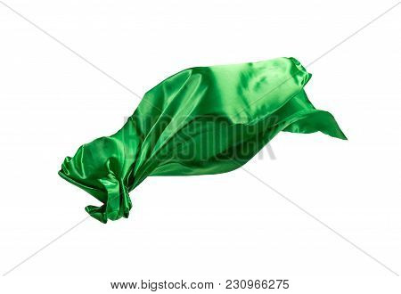 Smooth Elegant Transparent Green Cloth Isolated Or Separated On White Studio Background. Texture Of
