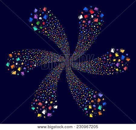 Multicolored Cash Register Twirl Flower Cluster On A Dark Background. Hypnotic Cycle Created From Sc