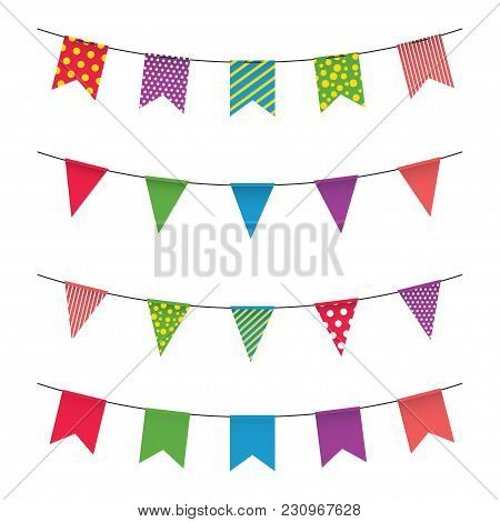 Garland With Colorful Flags. Carnival Or Fair Flags On White Background. Decoration For Party, Birth