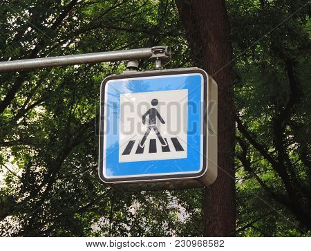 Traffic Signs To Indicate The Place Of Crossing Of Pedestrians