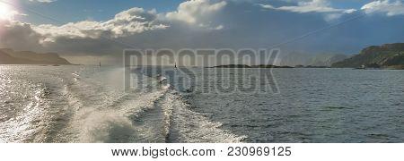View On Norwegian Sea Near Alesund From Pleasure Motorboat, Norway, Europe