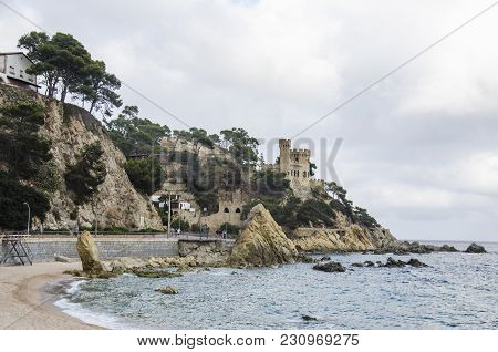 Panoramic View Of Lloret De Mar Castle At Sunset, Costa Brava Between Barcelona And Girona, Spain. A