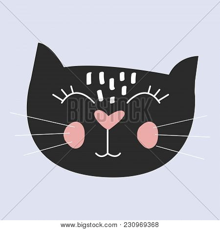 Cute Cat Vector.t-shirt Print.love Cards.valentine's Day.animal Print