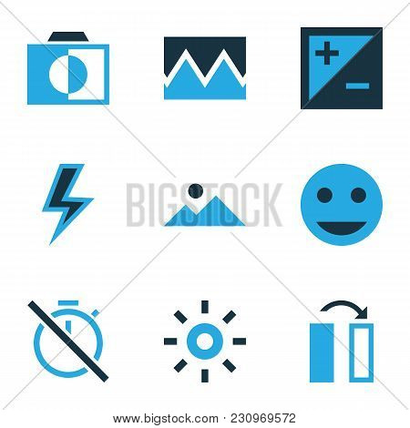 Image Icons Colored Set With Tag Face, Chronometer, Lightning And Other Photo Elements. Isolated Vec