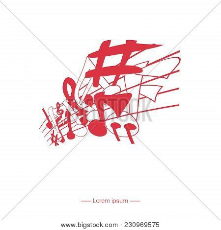 Music Poster Design With Melody Notes. Vector Illustration