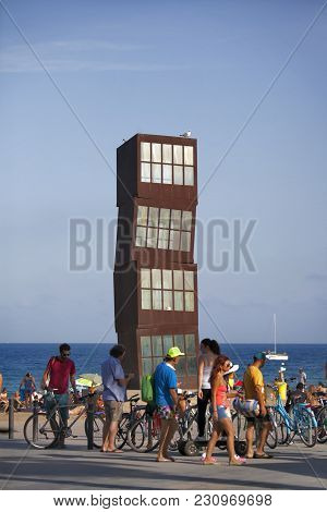 Barcelona, Spain - August 31: Barceloneta Beach On August 31, 2012 In Barcelona, Spain. The Sculptur