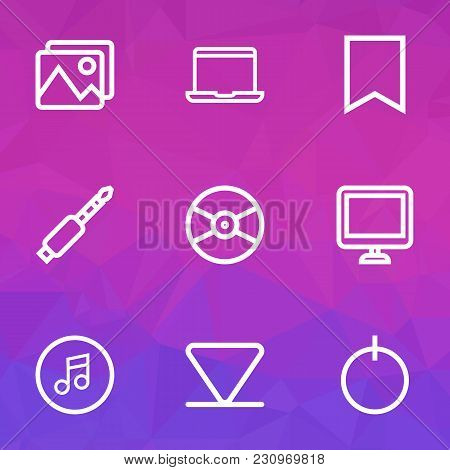 Media Icons Line Style Set With Quarter, Bookmark, Jack And Other Screen Elements. Isolated Vector I