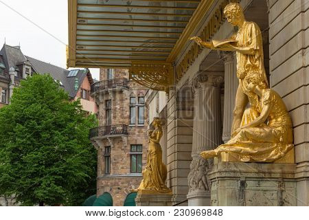 Stockholm, Sweden - May 28, 2016: Gold Statues At The Royal Dramatic Theatre. Spring