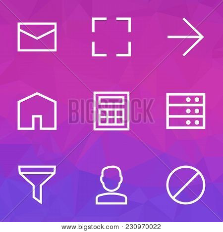 Interface Icons Line Style Set With Forbidden, Calculate, Letter And Other Mail Elements. Isolated V