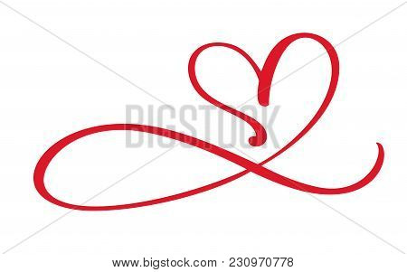 Heart Love Flourish Sign Forever. Infinity Romantic Symbol Linked, Join, Passion And Wedding. Templa