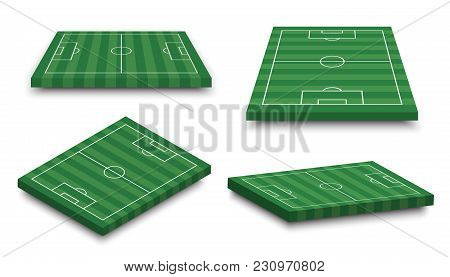 Set Of 3d Football Field On White Isolated Background . Perspective And Isometric Aspect . Vector .